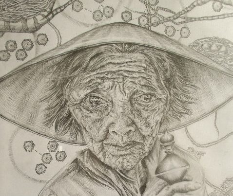 """A lifetime spent creating new nests"" Graphite on paper"