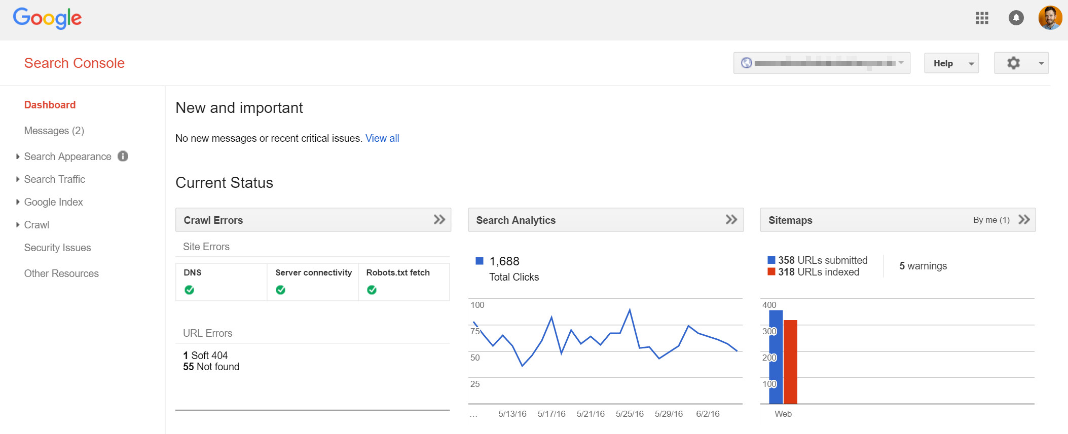 The Dashboard view of a Property within Google Search Console, when setup with data flowing.