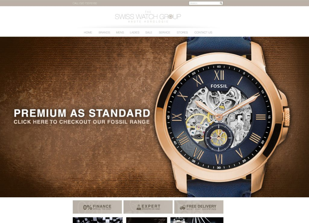 A recent Magento website Liam designed and developed for one of the UK's most well known Swiss watch providers.