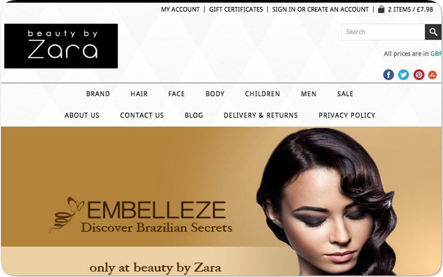 UK beauty BigCommerce store designed by Pavel