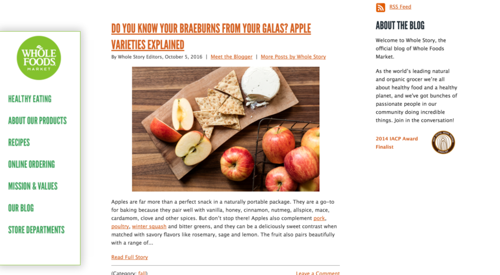 How to create a brilliant company blog examples whole foods blog forumfinder Choice Image