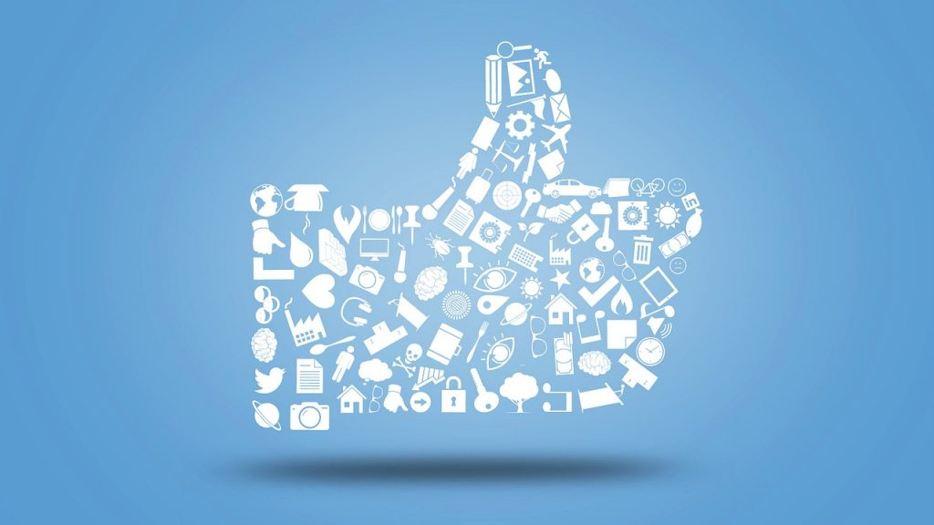 social media channels and thumbs up!